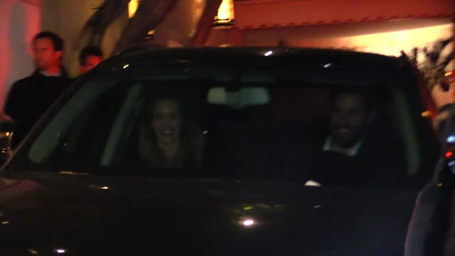 emily blunt john krasinski depart vanity fair's campaign hollywood at the chateau marmont in los angeles in celebrity sightings in los angeles - john krasinski stock videos and b-roll footage