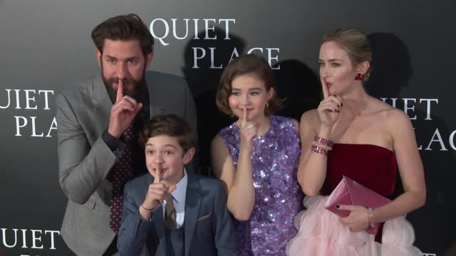emily blunt john krasinski millicent simmonds noah jupe at new york premiere of a quiet place at amc lincoln square theater on april 2 2018 in new... - john krasinski stock videos & royalty-free footage