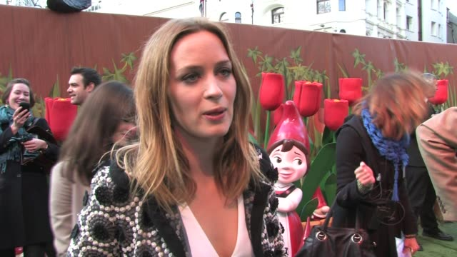 Emily Blunt on animation Disney Snow White wanting to play Nancy Drew at the Gnomeo and Juliet 3D Premiere at London England