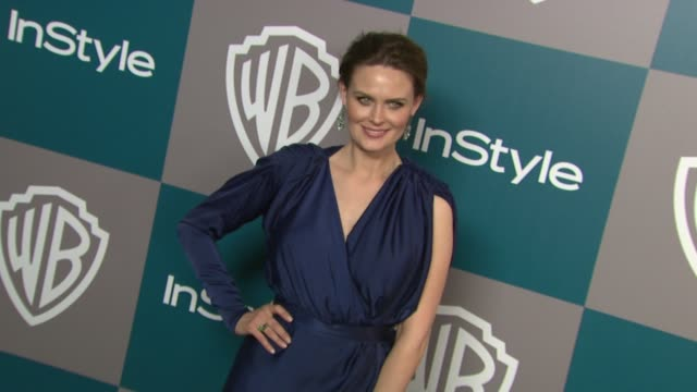 emily deschanel at the 13th annual warner bros and instyle golden globe afterparty in beverly hills ca on 1/15/12 - warner bros stock videos & royalty-free footage