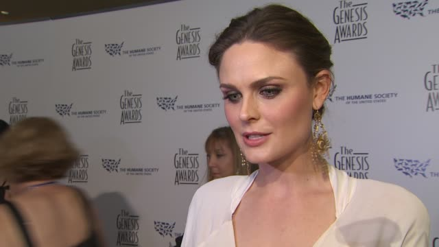 Emily Deschanel on the event dogs the honoree at the 24th Genesis Awards at Beverly Hills CA