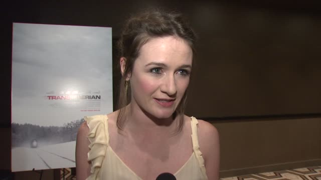 emily mortimer talking about her role in the film working with sir ben kingsley travelling on a train when she was younger and shooting in a small... - ben kingsley stock videos and b-roll footage