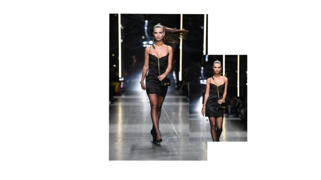 stockvideo's en b-roll-footage met gif emily ratajkowsk walks the runway at the versace fashion show during milan menswear fashion week autumn/winter 2019/20 on january 11 2019 in... - versace modelabel