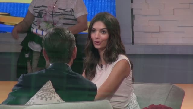 emily ratajkowski being interviewed on the 'good morning america' show in celebrity sightings in new york - good morning america stock videos and b-roll footage