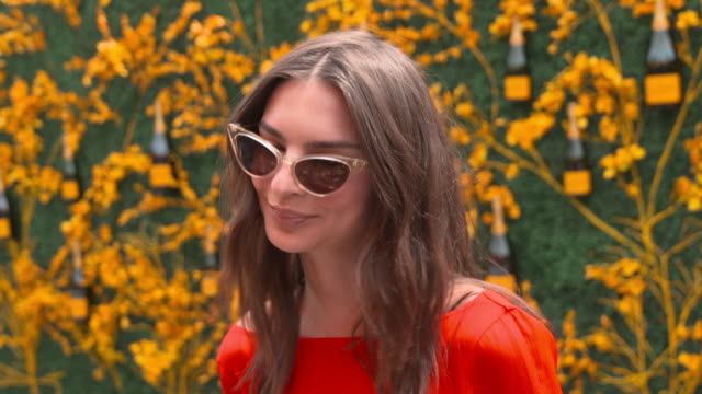 stockvideo's en b-roll-footage met emily ratajkowski on what excites her the most about the event at liberty state park on june 01, 2019 in jersey city, new jersey. - interview ruw materiaal