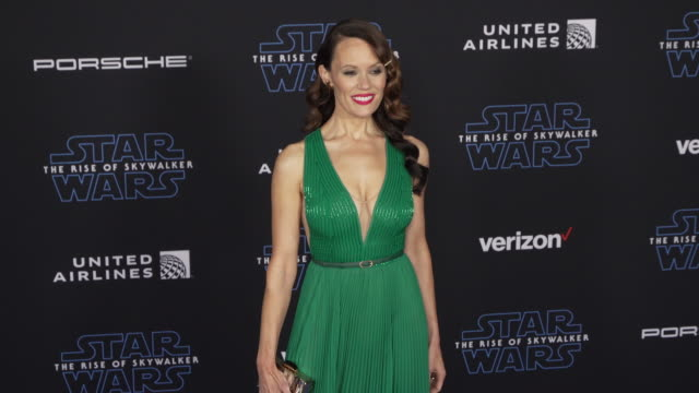 """emily swallow at the premiere of disney's """"star wars: the rise of skywalker"""" on december 16, 2019 in hollywood, california. - star wars stock videos & royalty-free footage"""