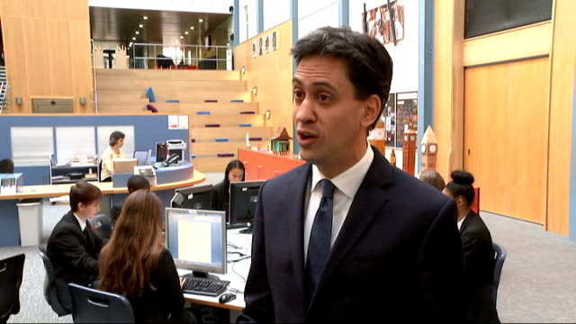 emily thornberry resignation / rochester and strood by-election; finchley: wren academy: int ed miliband mp interview sot - i think it's not at all... - hand on heart stock videos & royalty-free footage