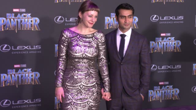 Emily V Gordon and Kumail Nanjiani at the Marvel Studios' 'Black Panther' World Premiere at Dolby Theatre on January 29 2018 in Hollywood California