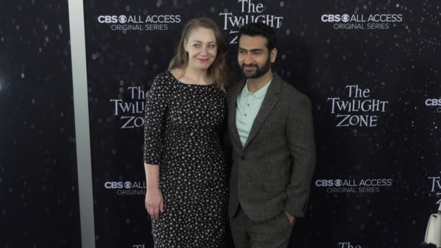 "emily v. gordon and kumail nanjiani at the premiere of ""the twilight zone' at the harmony gold preview house and theater on march 26, 2019 in... - harmony gold preview theatre stock videos & royalty-free footage"