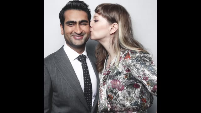 emily v gordon and kumail nanjiani pose for a gif at the bafta los angeles tea party on january 6 2018 in beverly hills california - bafta la tea party stock videos and b-roll footage