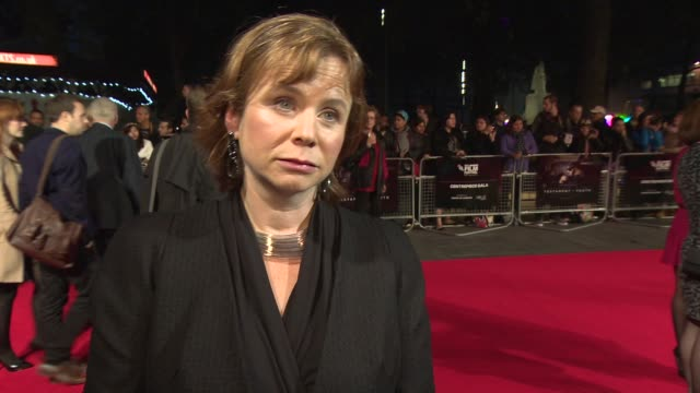 interview emily watson on the lff the poignancy of the story of the film and working with alicia vikander at 'testament of youth' centerpiece gala... - odeon leicester square stock videos and b-roll footage