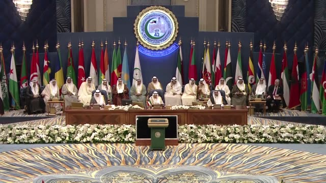 emir of kuwait sheikh sabah al-ahmad al-jaber al-sabah chairs the opening of the 42nd session of the organization of islamic corporation in kuwait... - シャイフ点の映像素材/bロール