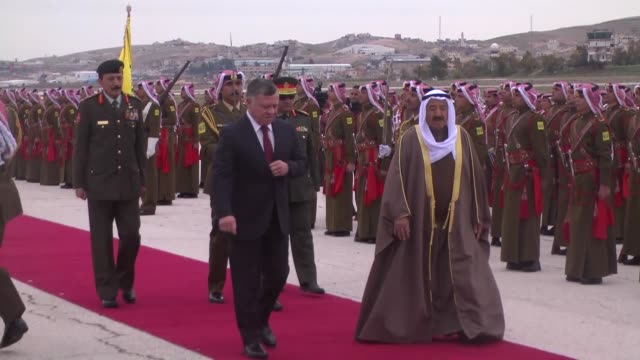 Emir of Kuwait Sheikh Sabah AlAhmad AlJaber AlSabah is welcomed by King Abdullah II of Jordan with official ceremony as he arrives at Marka...