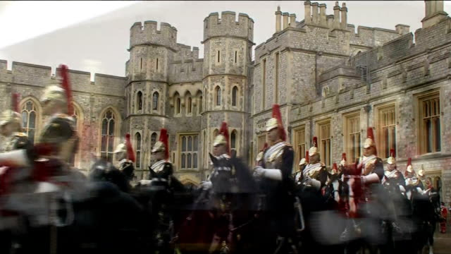 Arrival at Windsor Castle More of the same / Queen and Emir of Kuwait into Castle followed by Prince Philip and Prince Charles