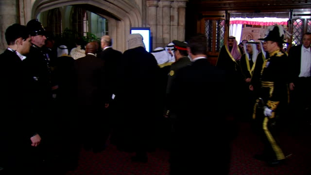Duke of York hosts Guildhall banquet Emir of Kuwait accompanied by Prince Andrew and other dignitaries enters Guildhall Emir of Kuwait Prince Andrew...