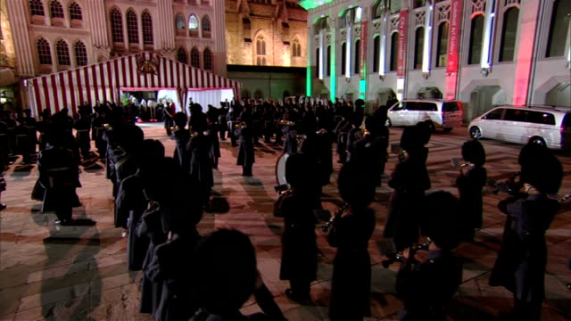 emir of kuwait state visit: duke of york hosts guildhall banquet; england: london: guildhall: ext / night emir of kuwait guildhall arrival where... - courtyard stock videos & royalty-free footage