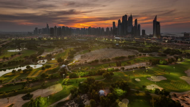 emirates golf course / marina nightfall - golf course stock videos & royalty-free footage