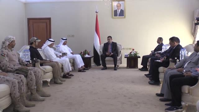 emirati ambassador salem al-ghafli meets yemeni prime minister moeen abulmalik saeed in aden - aden stock videos & royalty-free footage