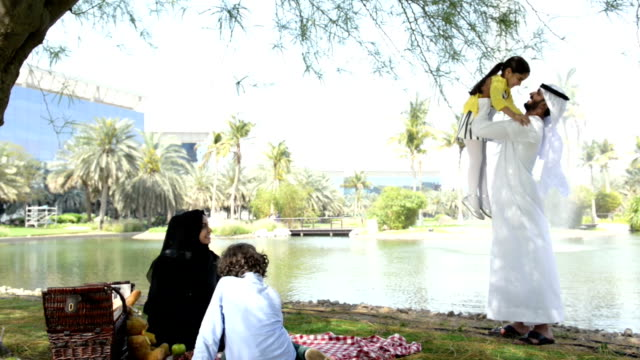 emirati family at picnic - middle eastern ethnicity stock videos & royalty-free footage