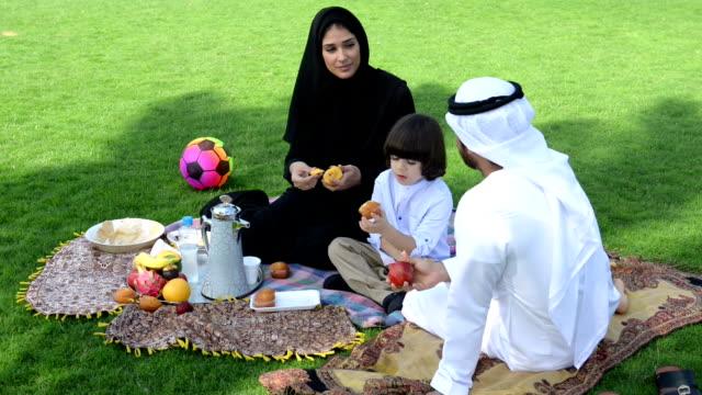 emiratino famiglia avendo un picnic - etnia medio orientale video stock e b–roll