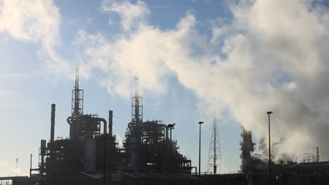 emissions from a petrochemical plant at seal sands on teeside uk - smoke physical structure stock videos & royalty-free footage