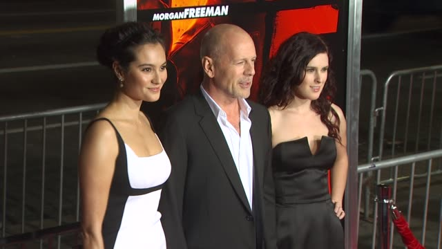 emma heming bruce willis rumer willis at the 'red' premiere at hollywood ca - bruce willis stock videos and b-roll footage