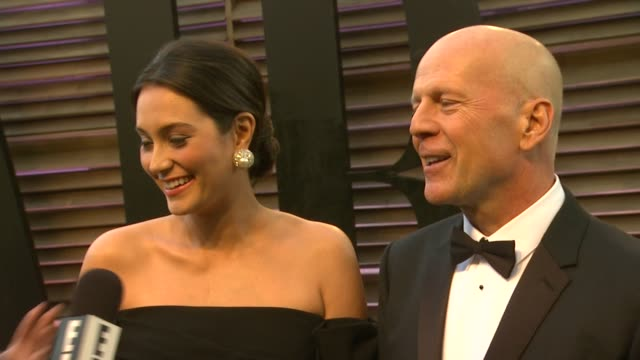 emma heming willis and bruce willis at the 2014 vanity fair oscar party hosted by graydon carter arrivals on march 02 2014 in west hollywood... - bruce willis stock videos and b-roll footage