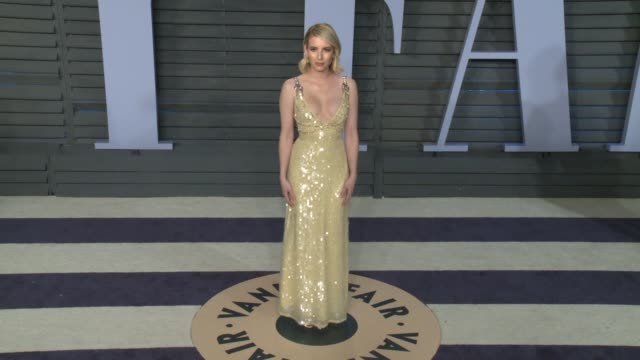 emma roberts at 2018 vanity fair oscar party on march 04, 2018 in beverly hills, california. - 2018 stock videos & royalty-free footage