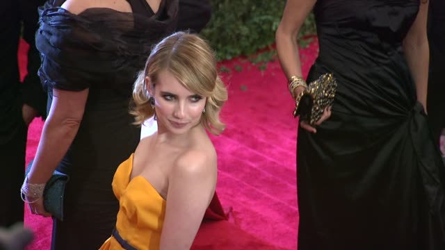 emma roberts at schiaparelli and prada impossible conversations costume institute gala at metropolitan museum of art on may 07 2012 in new york new... - escada stock videos & royalty-free footage