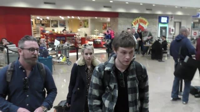Emma Roberts Evan Peters arriving to the Sundance Film Festival at Salt Lake City Airport in Utah in Celebrity Sightings in Park City UT
