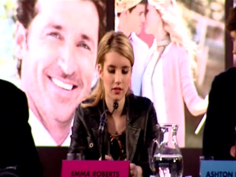 emma roberts talks about her favourite love story being roman holiday or anything with audrey hepburn in. at the valentine's day press conference at... - audrey hepburn stock videos & royalty-free footage