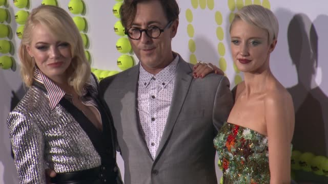 emma stone alan cumming and andrea riseborough at battle of the sexes los angeles premiere presented by fox searchlight at regency village theatre on... - regency village theater stock videos & royalty-free footage