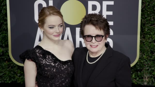 Emma Stone and Billie Jean King at the 75th Annual Golden Globe Awards at The Beverly Hilton Hotel on January 07 2018 in Beverly Hills California