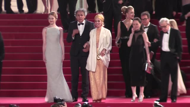emma stone and woody allen as well as wife going down the an irrational man red carpet in cannes during the 2015 cannes film festival cannes, france,... - parker posey stock videos & royalty-free footage