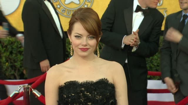 emma stone at 18th annual screen actors guild awards arrivals on 1/29/12 in los angeles ca - screen actors guild stock videos & royalty-free footage