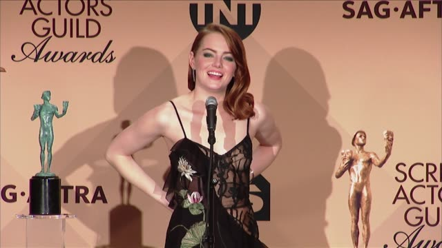 SPEECH Emma Stone at 23rd Annual Screen Actors Guild Awards Press Room in Los Angeles CA
