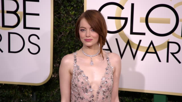 emma stone at 74th annual golden globe awards - arrivals at 74th annual golden globe awards - arrivals at the beverly hilton hotel on january 08,... - golden globe awards stock videos & royalty-free footage