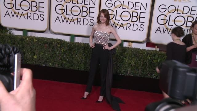 emma stone at the 72nd annual golden globe awards - arrivals at the beverly hilton hotel on january 11, 2015 in beverly hills, california. - 2015 stock videos & royalty-free footage