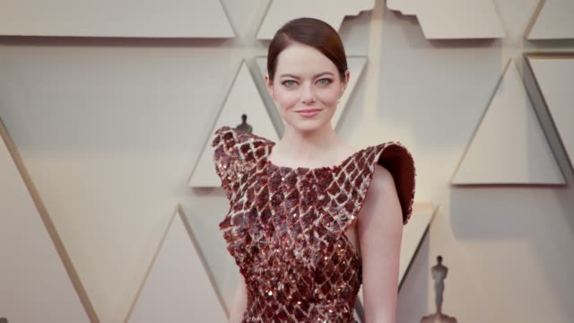 vídeos de stock e filmes b-roll de emma stone at the 91st academy awards arrivals at dolby theatre on february 24 2019 in hollywood california - cerimónia dos óscares