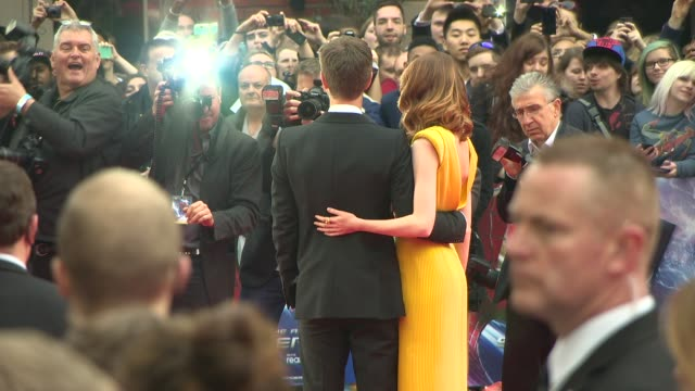 emma stone at the amazing spider-man 2 - uk film premiere on april 10, 2014 in london, england. - première stock videos & royalty-free footage