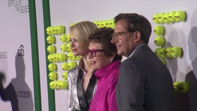 emma stone billie jean king and steve carell at battle of the sexes los angeles premiere presented by fox searchlight at regency village theatre on... - regency village theater stock videos & royalty-free footage