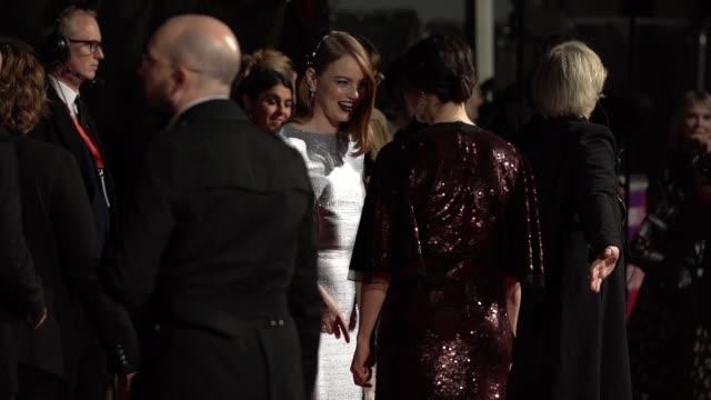 slomo emma stone rachel weisz at 'the favourite' uk premiere 62nd bfi london film festival on october 18 2018 in london england - rachel weisz stock videos & royalty-free footage