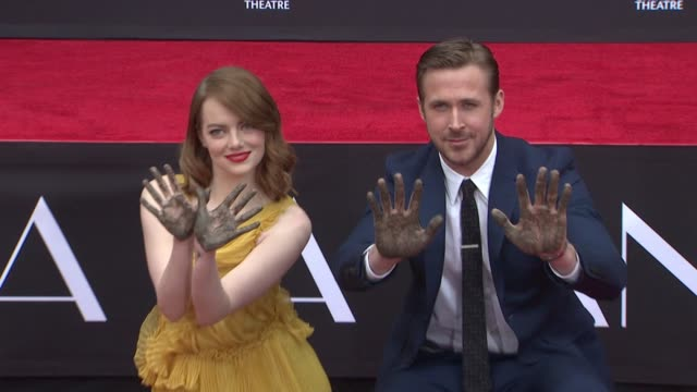 chyron emma stone ryan gosling honored with hand footprint ceremony on behalf of lionsgate's la la land at tcl chinese theatre on december 07 2016 in... - ryan gosling stock videos and b-roll footage