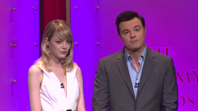 emma stone seth macfarlane announce the 85th academy awards nominations at the 85th academy awards nominations announcement in beverly hills 01/10/13... - samuel goldwyn theater stock videos & royalty-free footage