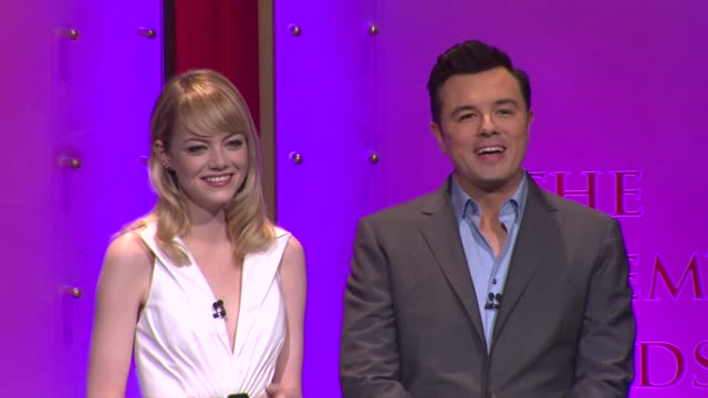 emma stone seth macfarlane announce the 85th academy awards nominations at the 85th academy awards nominations announcement in beverly hills 01/10/13... - nomination stock videos & royalty-free footage