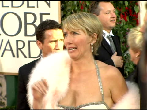 emma thompson and colin firth at the 2006 golden globe awards arrivals at the beverly hilton in beverly hills california on january 16 2006 - emma thompson stock videos and b-roll footage
