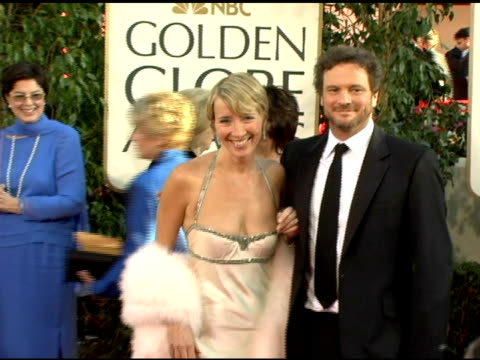 vídeos de stock, filmes e b-roll de emma thompson and colin firth at the 2006 golden globe awards arrivals at the beverly hilton in beverly hills california on january 16 2006 - colin firth