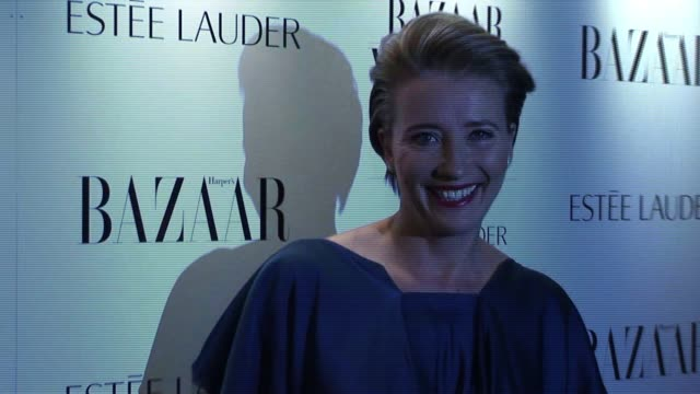 emma thompson arrives for the harper's bazaar awards. harper's bazaar women of the year awards at one mayfair on november 01, 2010 in london - emma thompson stock videos & royalty-free footage