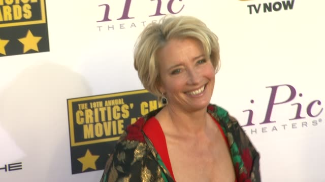 emma thompson at 19th annual critics' choice movie awards arrivals at the barker hanger on in santa monica california - emma thompson stock videos & royalty-free footage