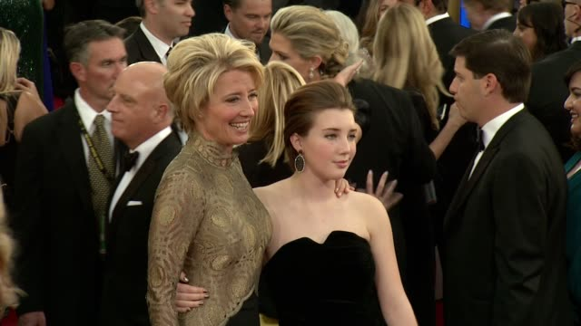 emma thompson at 71st annual golden globe awards - arrivals at the beverly hilton hotel on in beverly hills, california. - the beverly hilton hotel点の映像素材/bロール